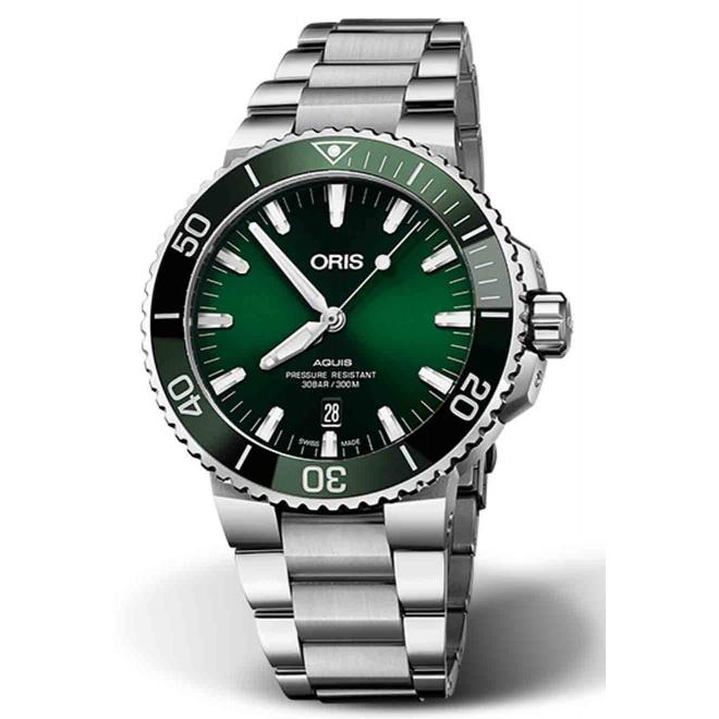 ORIS AQUIS DATE -300 M ∅43,5 mm, Esfera verde, brazalete de acero