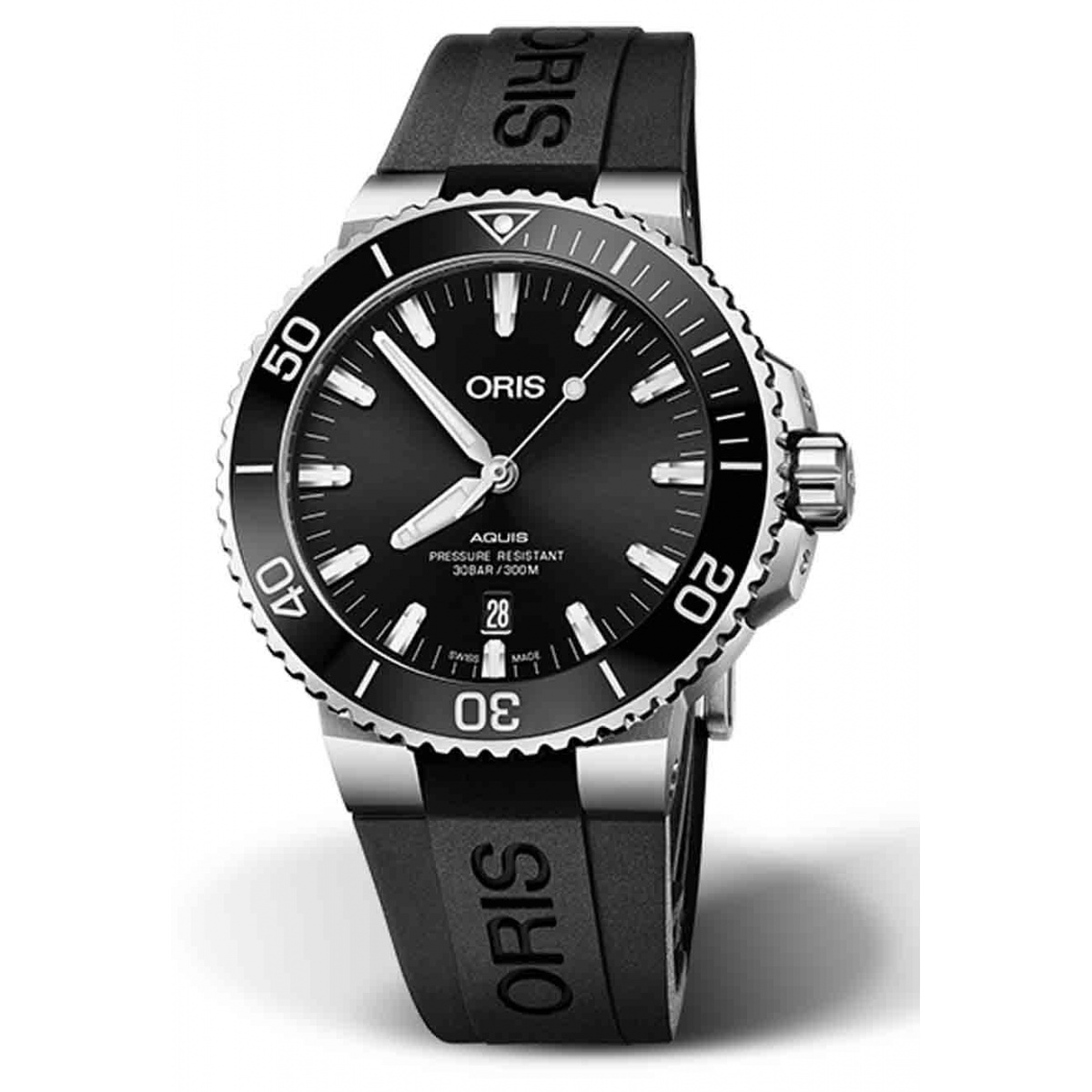 ORIS AQUIS DATE -300 M ∅43,5 mm, Esfera negra, caucho negro, Acero Pulido