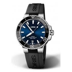 ORIS AQUIS DATE -300 M ∅39,5 mm, Esfera azul, caucho negro