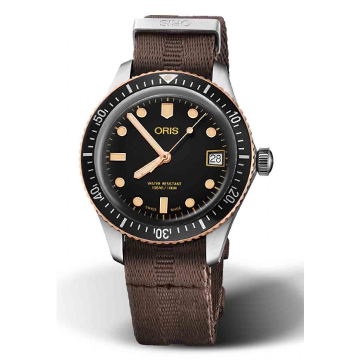 ORIS DIVERS SIXTY-FIVE 100 M ∅36 mm, Esfera negra y bronze, correa textil marrón