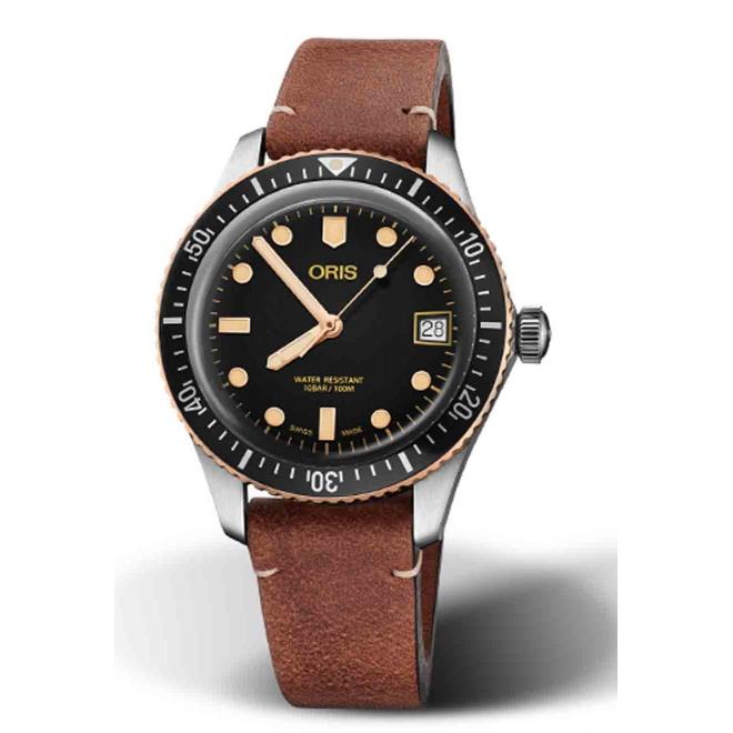 ORIS DIVERS SIXTY-FIVE 100 M ∅36 mm, Esfera negra y bronce, correa de piel marrón