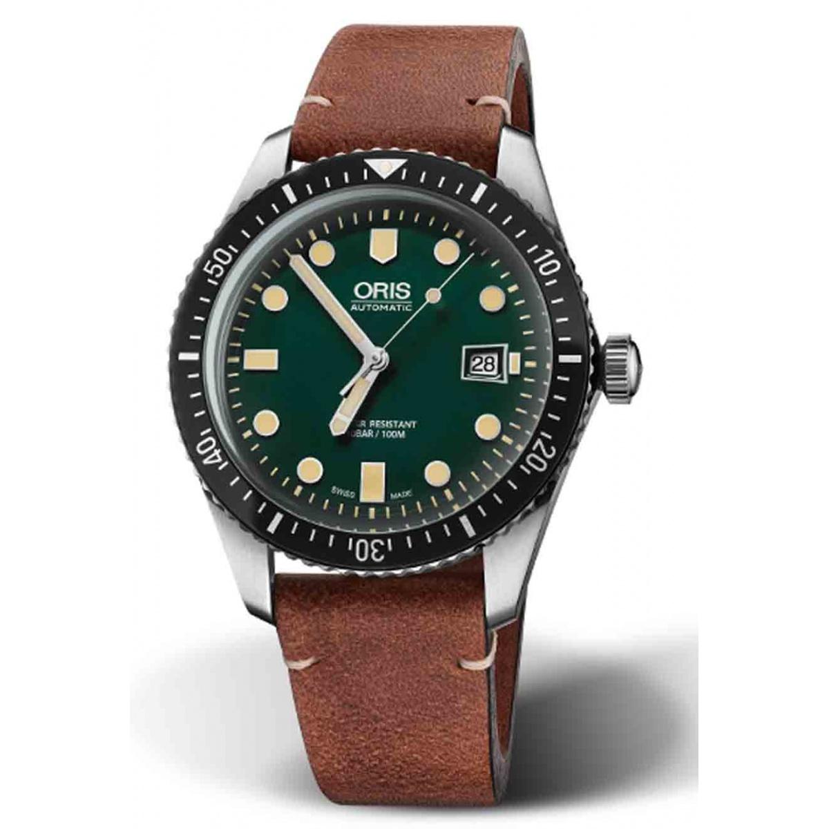 ORIS DIVERS SIXTY-FIVE -100 M ∅42 mm, Esfera verde, brazalete de piel marrón claro