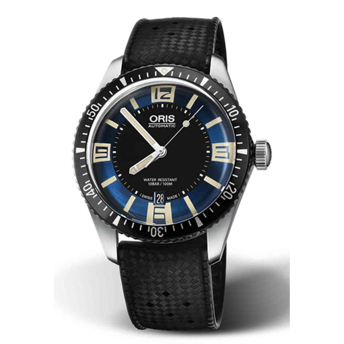 ORIS DIVERS SIXTY-FIVE -100 M ∅40 mm, Esfera azul y negra número, caucho negro