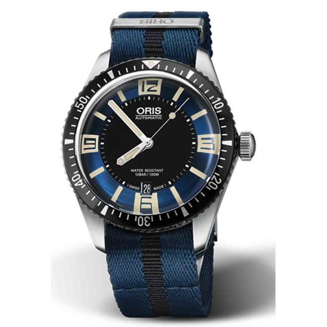 ORIS DIVERS SIXTY-FIVE -100 M ∅40 mm, Esfera azul y negra número, correa textil azul y negra