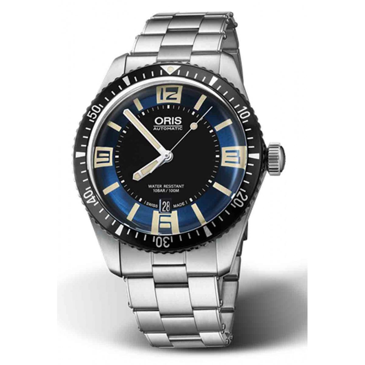 ORIS DIVERS SIXTY-FIVE -100 M ∅40 mm, Esfera azul y negra número, brazalete de acero