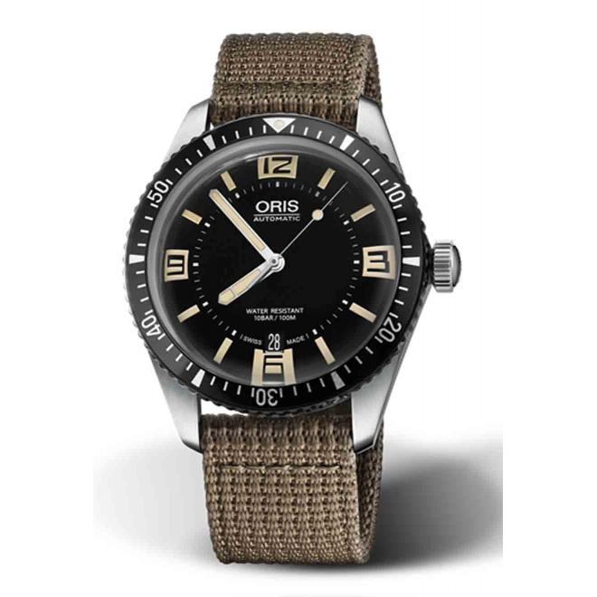 ORIS DIVERS SIXTY-FIVE -100 M ∅40 mm, Esfera negra números, correa textil marrón