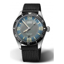 ORIS DIVERS SIXTY-FIVE -100 M ∅40 mm, Esfera azul y gris, brazalete textil negro