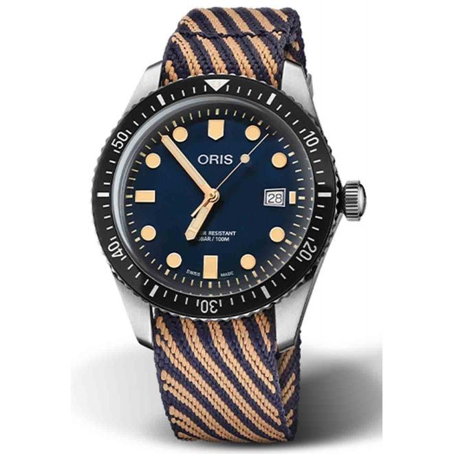 ORIS DIVERS SIXTY-FIVE 2018 100 M ∅42 mm, Esfera azul, correa de r-Radyarn®