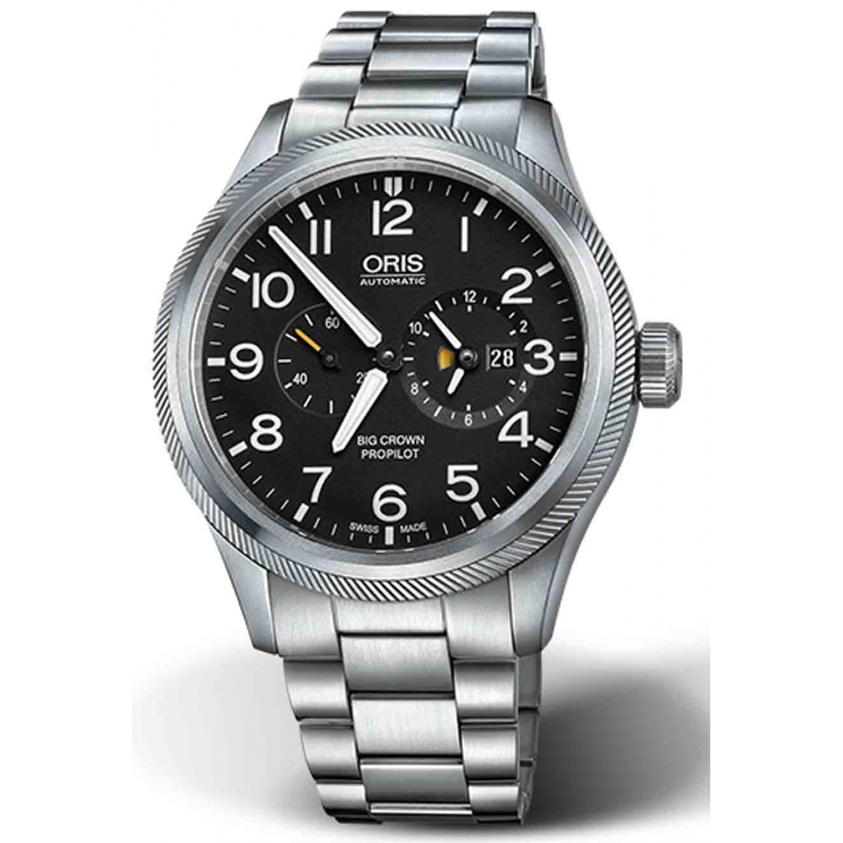 ORIS BIG CROWN PROPILOT WORLDTIMER 100 M ∅44 mm, Esfera negra, acero