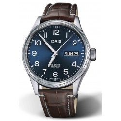 ORIS BIG CROWN PROPILOT BIG DAY DATE 100 M ∅45 mm, Esfera azul, cocodrilo marrón