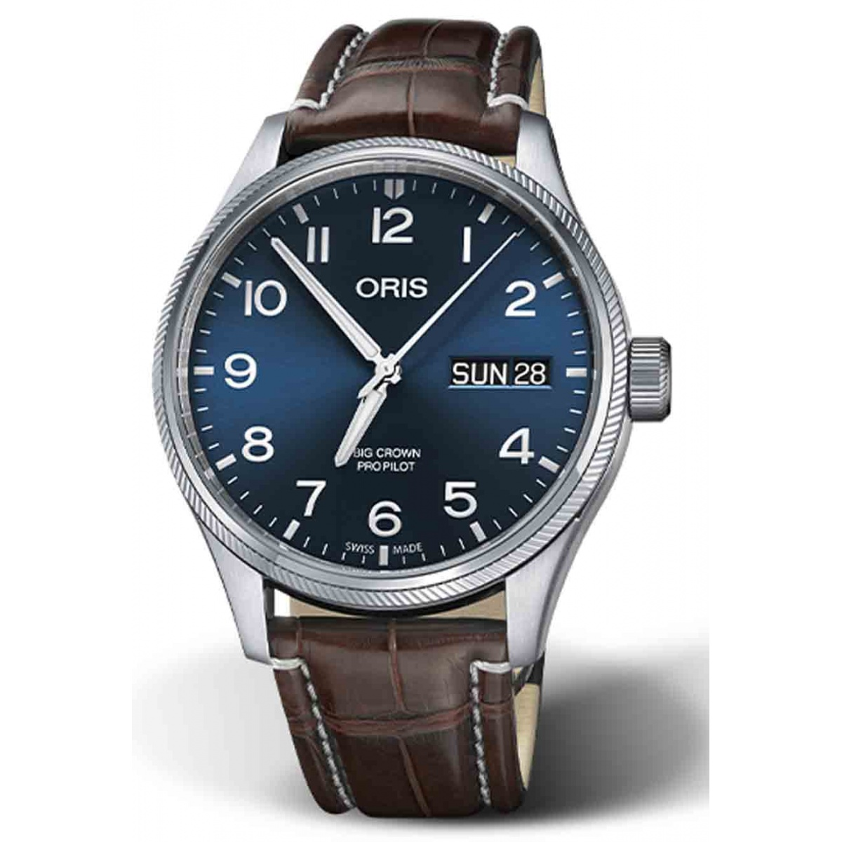 ORIS BIG CROWN PROPILOT BIG DAY DATE 100 M ∅44 mm, Esfera azul, cocodrilo marrón