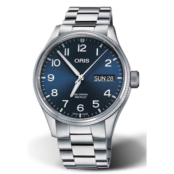 ORIS BIG CROWN PROPILOT BIG DAY DATE 100 M ∅45 mm, Esfera azul, brazalete de acero
