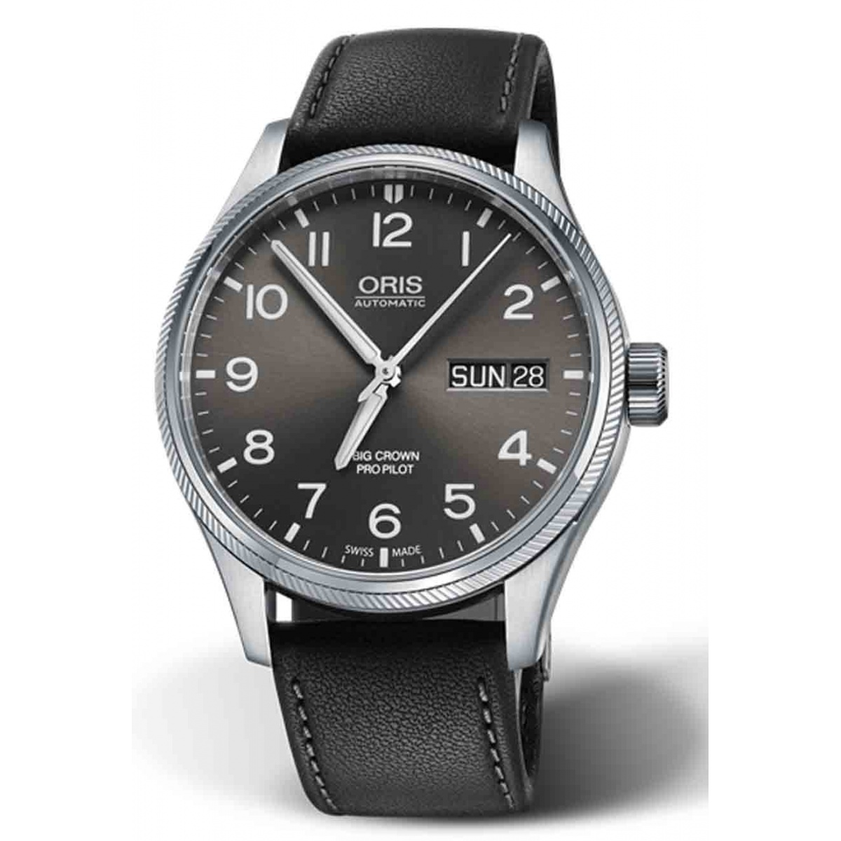 ORIS BIG CROWN PROPILOT BIG DAY DATE 100 M ∅45 mm, Esfera gris, brazalete de piel negra