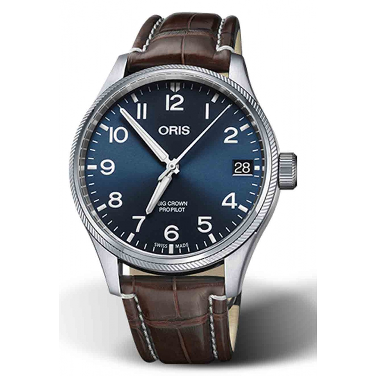 ORIS BIG CROWN PROPILOT BIG DATE 100 M ∅41 mm, Esfera azul, brazalete cocodrilo marrón