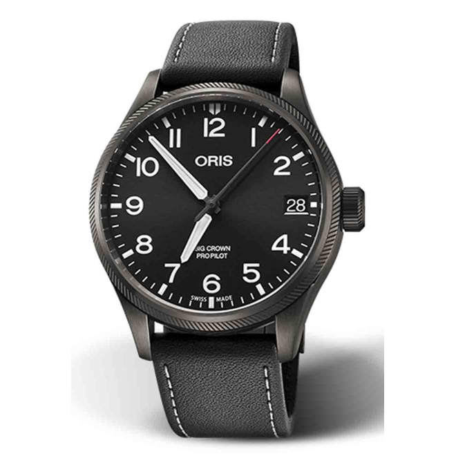 ORIS BIG CROWN PROPILOT BIG DATE 100 M ∅41 mm, Esfera negra, piel negra, Caja PVD