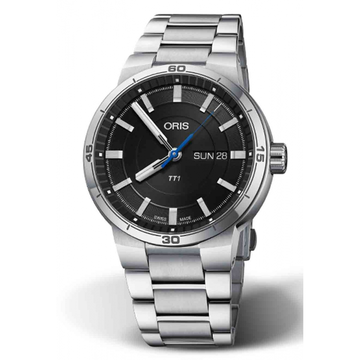 ORIS TT1 DAY DATE 100 M ∅42 mm, Esfera negra, brazalete de acero