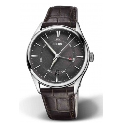 ORIS ARTELIER POINTER DAY DATE 50 M ∅40 mm, Esfera gris, piel marrón