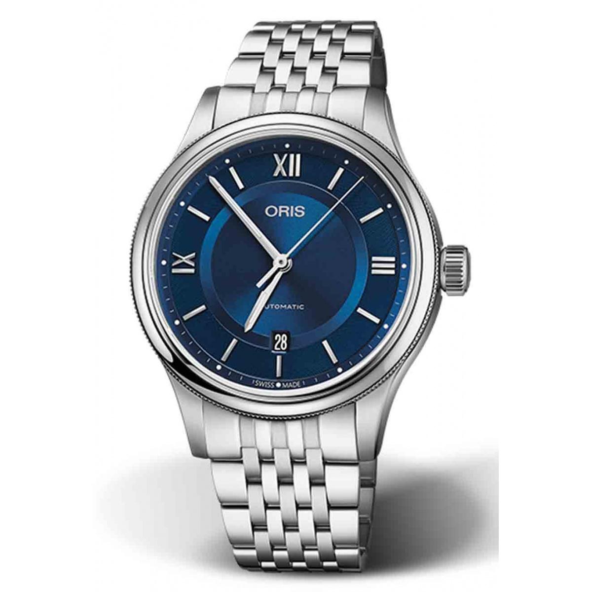 ORIS CLASSIC DATE 50 M ∅42 mm, Esfera azul, brazalete de acero