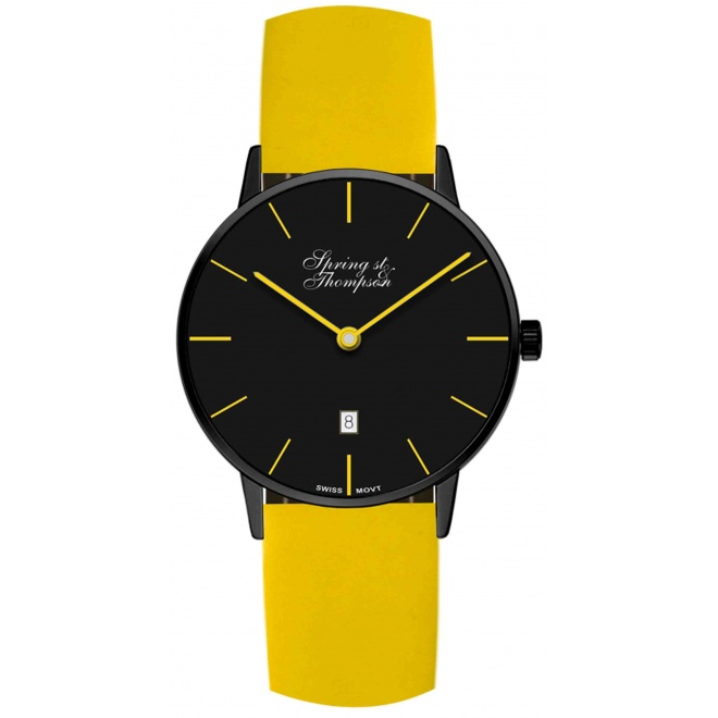 Spring st & Thompson 100 M - ∅40 MM Caja negra Esfera negra indices amarillos, piel amarilla