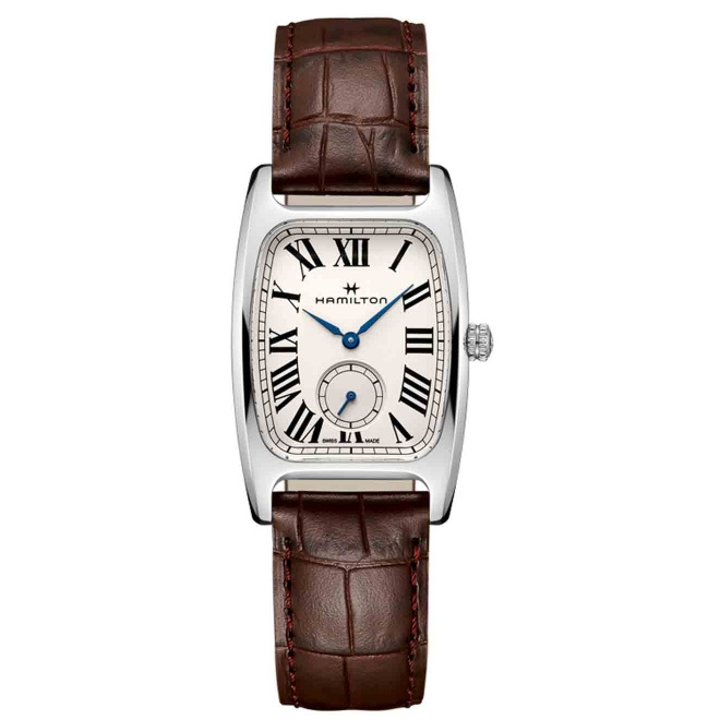Hamilton AMERICAN CLASSIC BOULTON SMALL SECOND QUARTZ 50 M - 8,21 mm, Esfera blanca, piel marrón