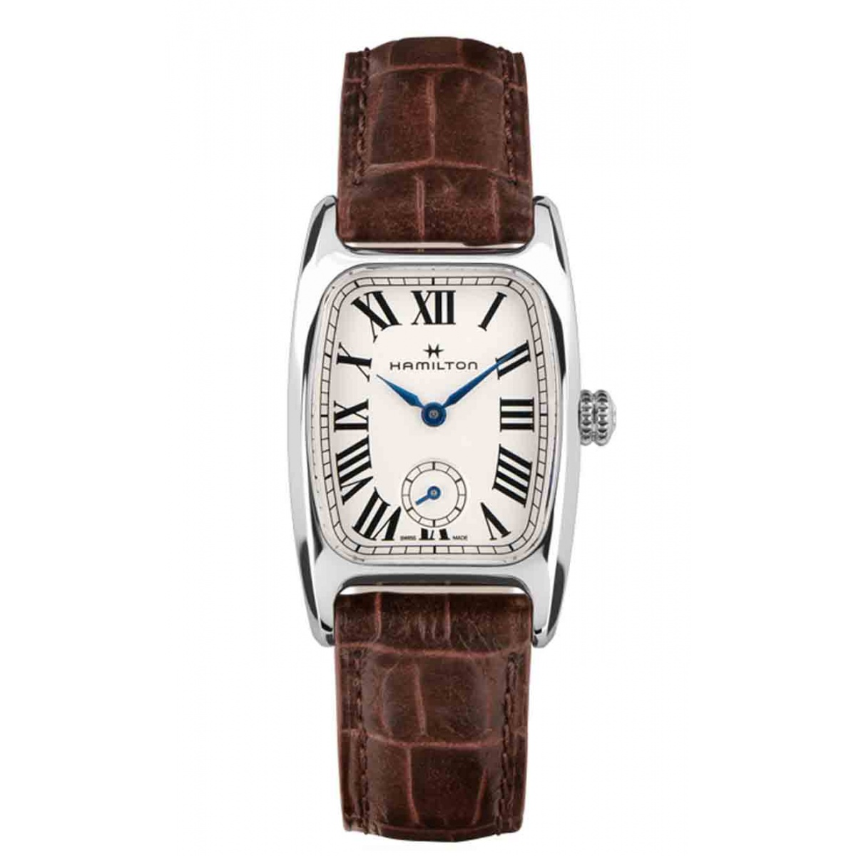 Hamilton AMERICAN CLASSIC BOULTON SMALL SECOND QUARTZ 50 M - 8,64 mm, Esfera blanca, piel marrón