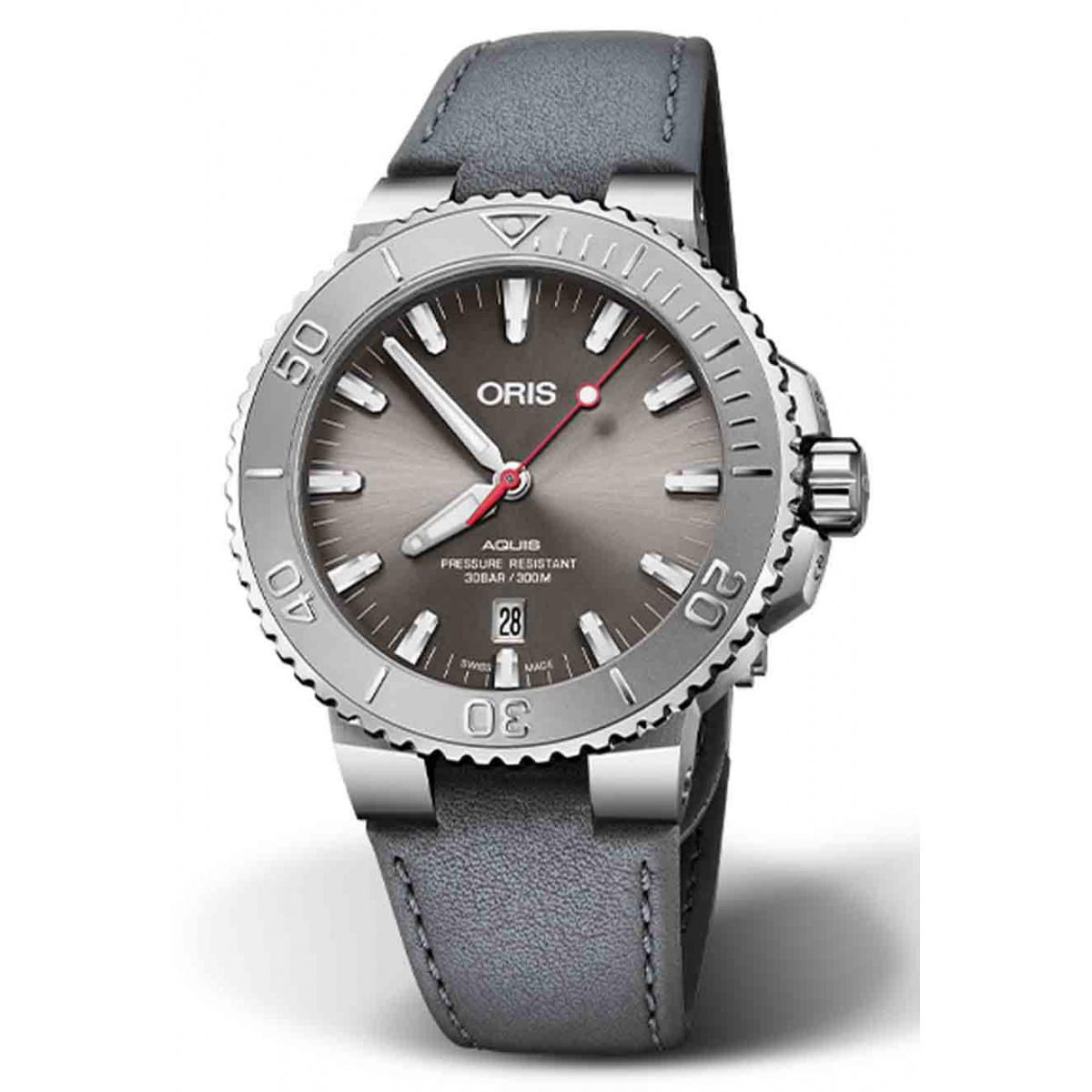 ORIS AQUIS DATE RELIEF 300 M ∅43,5 mm, Esfera gris, brazalete de piel gris