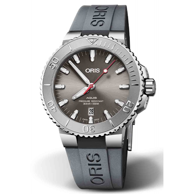 ORIS AQUIS DATE RELIEF 300 M ∅43,5 mm, Esfera gris, brazalete de caucho gris