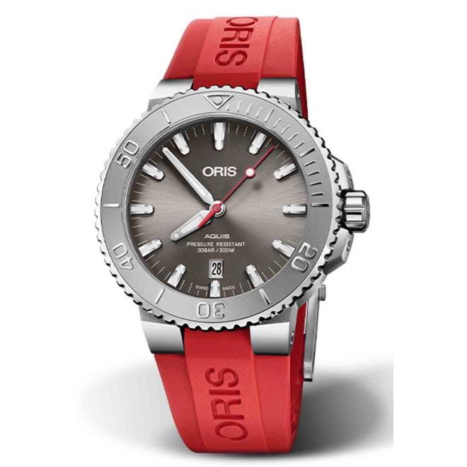 ORIS AQUIS DATE RELIEF 300 M ∅43,5 mm, Esfera gris, brazalete de caucho rojo