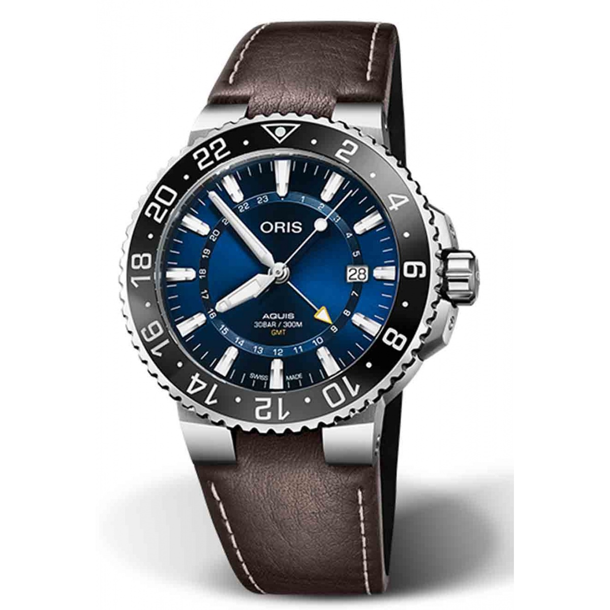 ORIS AQUIS GMT DATE 300 M ∅43,5 mm, Esfera azul, piel marrón