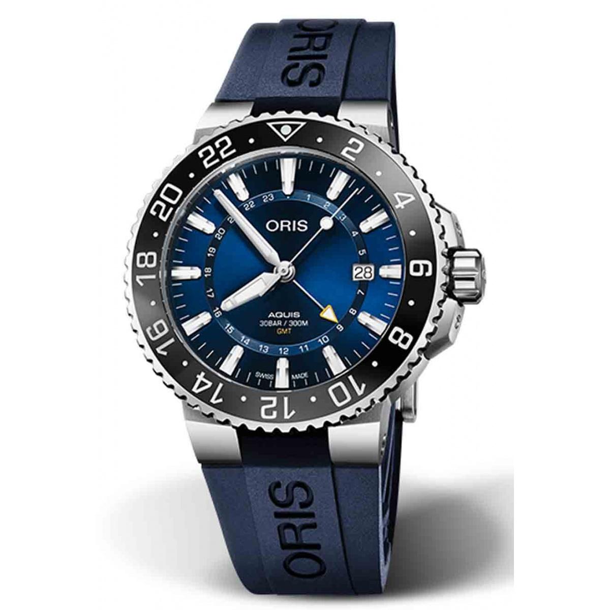ORIS AQUIS GMT DATE 300 M ∅43,5 mm, Esfera azul, caucho azul