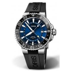 ORIS AQUIS GMT DATE 300 M ∅43,5 mm, Esfera azul, caucho negro