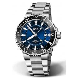 ORIS AQUIS GMT DATE 300 M ∅43,5 mm, Esfera azul, brazalete de acero