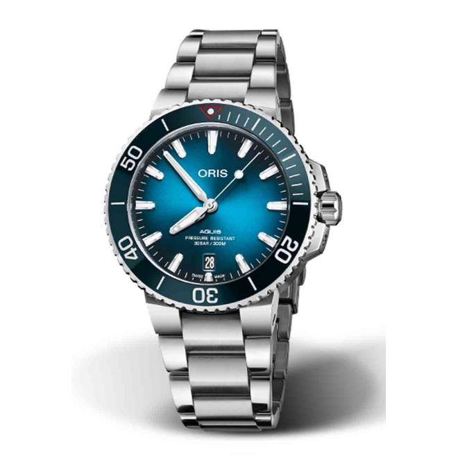 ORIS AQUIS CLEAN OCEAN LIMITED EDITION 300 M ∅39,5 mm, Esfera azul, brazalete de Acero