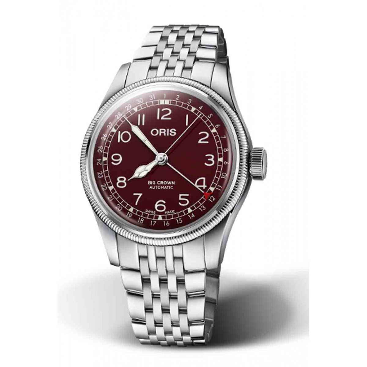 ORIS BIG CROWN POINTER DATE 50 M ∅40 mm, Esfera roja, brazalete de acero