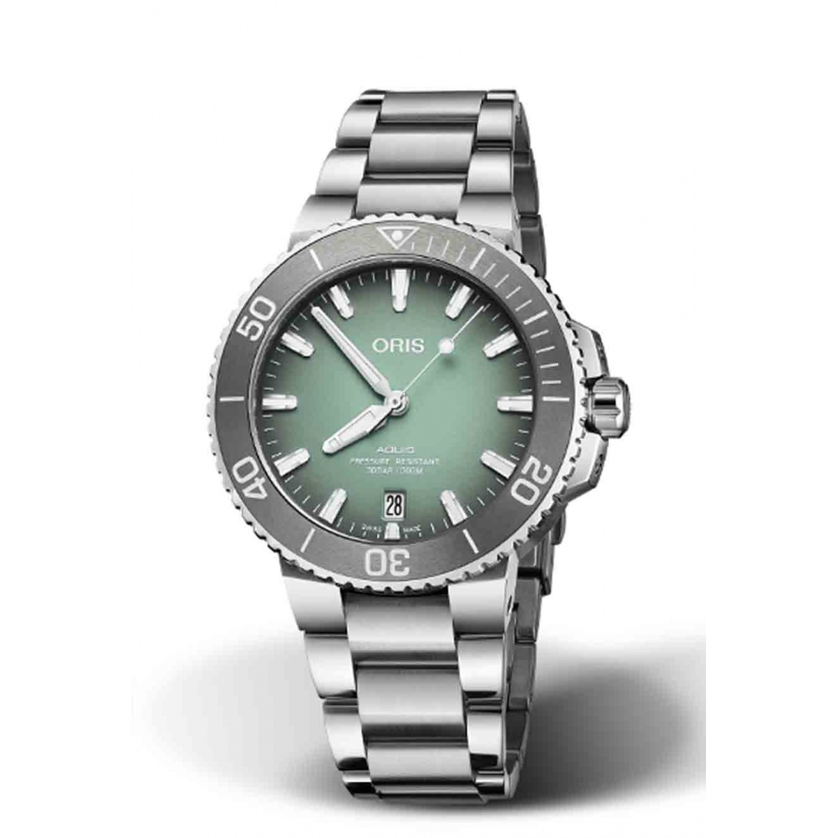ORIS AQUIS DATE 300 M ∅39,5 mm, Esfera verde, brazalete de acero