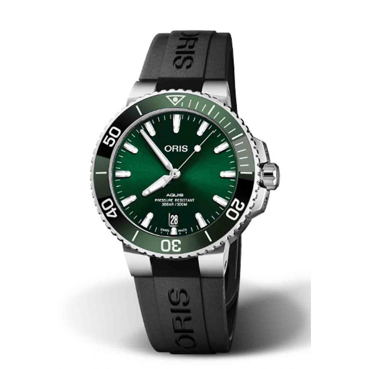 ORIS AQUIS DATE 300 M ∅39,5 mm, Esfera verde, caucho negro