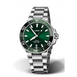 ORIS AQUIS DATE 300 M ∅39,5 mm, Esfera verde, bisel verde, acero