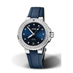 Reloj ORIS AQUIS DATE 300 M ∅36,5 mm, Esfera azul, brillantes, brazalete de textil azul