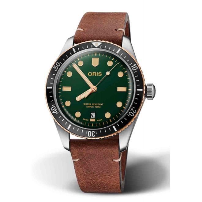 ORIS DIVERS SIXTY-FIVE 100 M ∅40 mm, Esfera verde, bronce, piel marrón