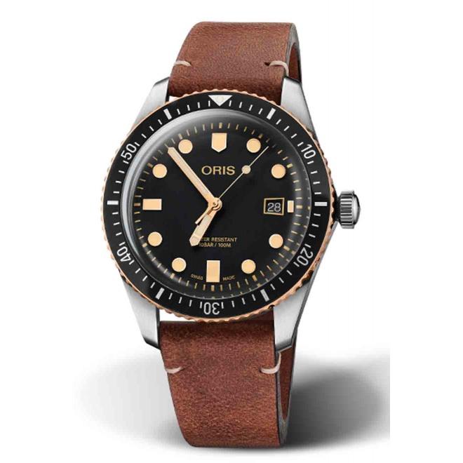 ORIS DIVERS SIXTY-FIVE 100 M ∅40 mm, Esfera negra, bronce, piel marrón