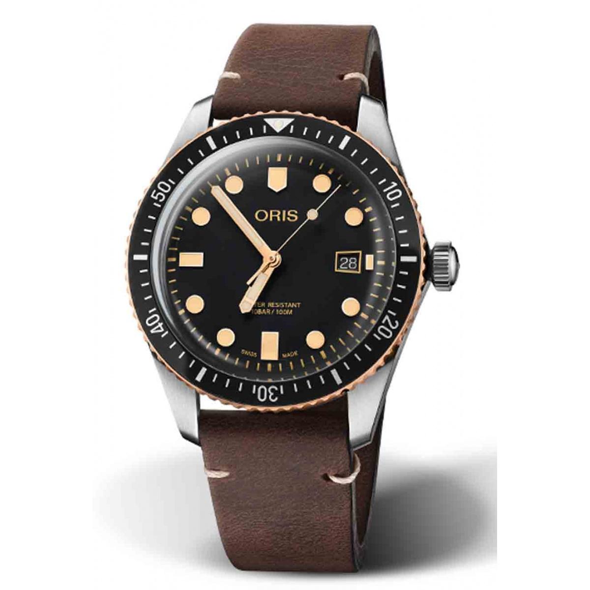 ORIS DIVERS SIXTY-FIVE 100 M ∅40 mm, Esfera negra, bronce, piel marrón oscura