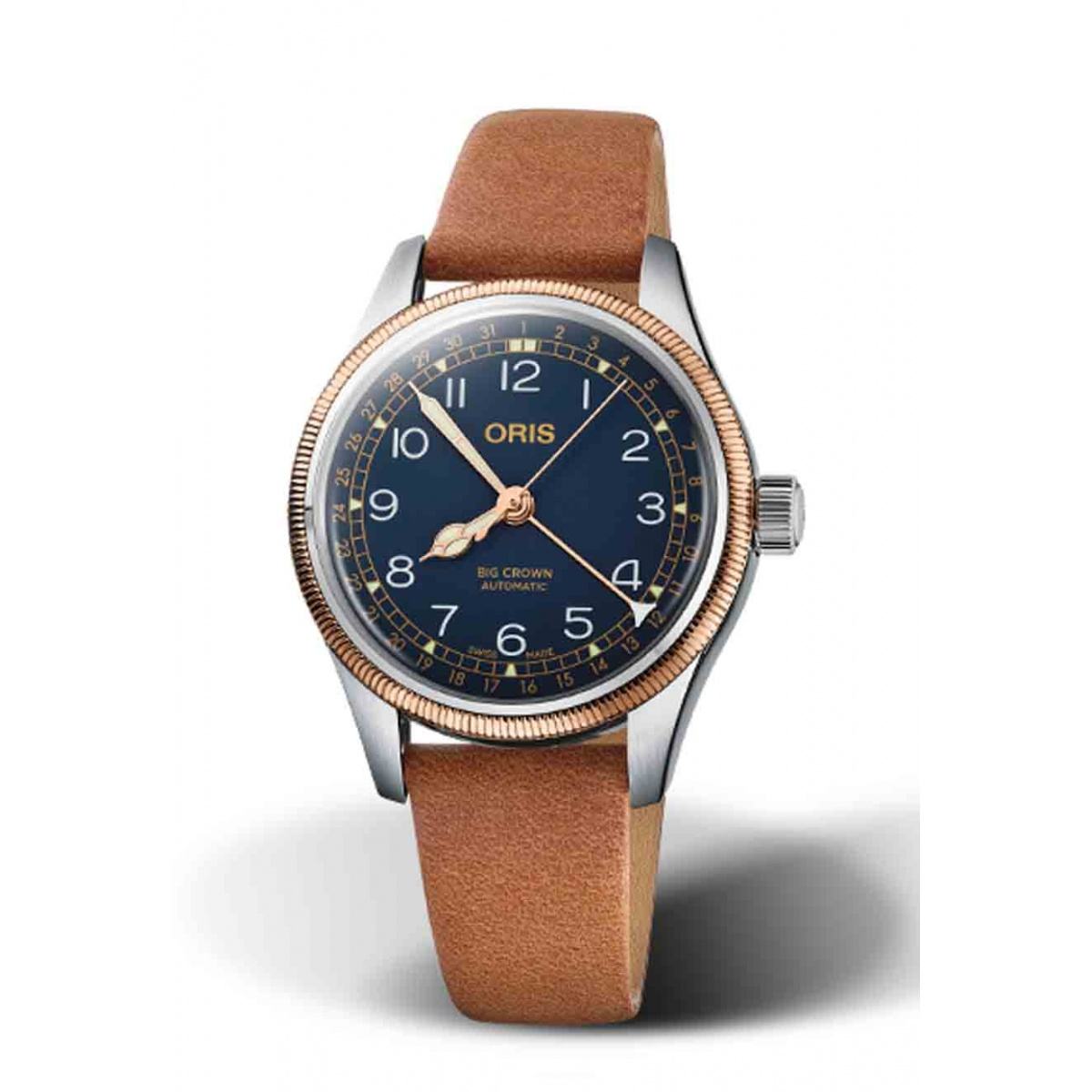 ORIS BIG CROWN POINTER DATE 50 M ∅36 mm, Esfera azul, bronce, piel marrón