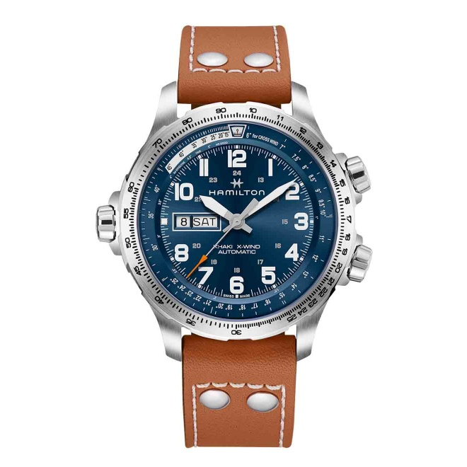 HAMILTON KHAKI AVIATION X-WIND DAY DATE AUTO 100 M - 45 mm, Esfera azul, correa piel marrón