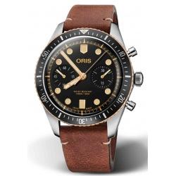 ORIS DIVERS SIXTY-FIVE CHRONOGRAPH 100 M ∅43 mm, Esfera negra, piel marrón