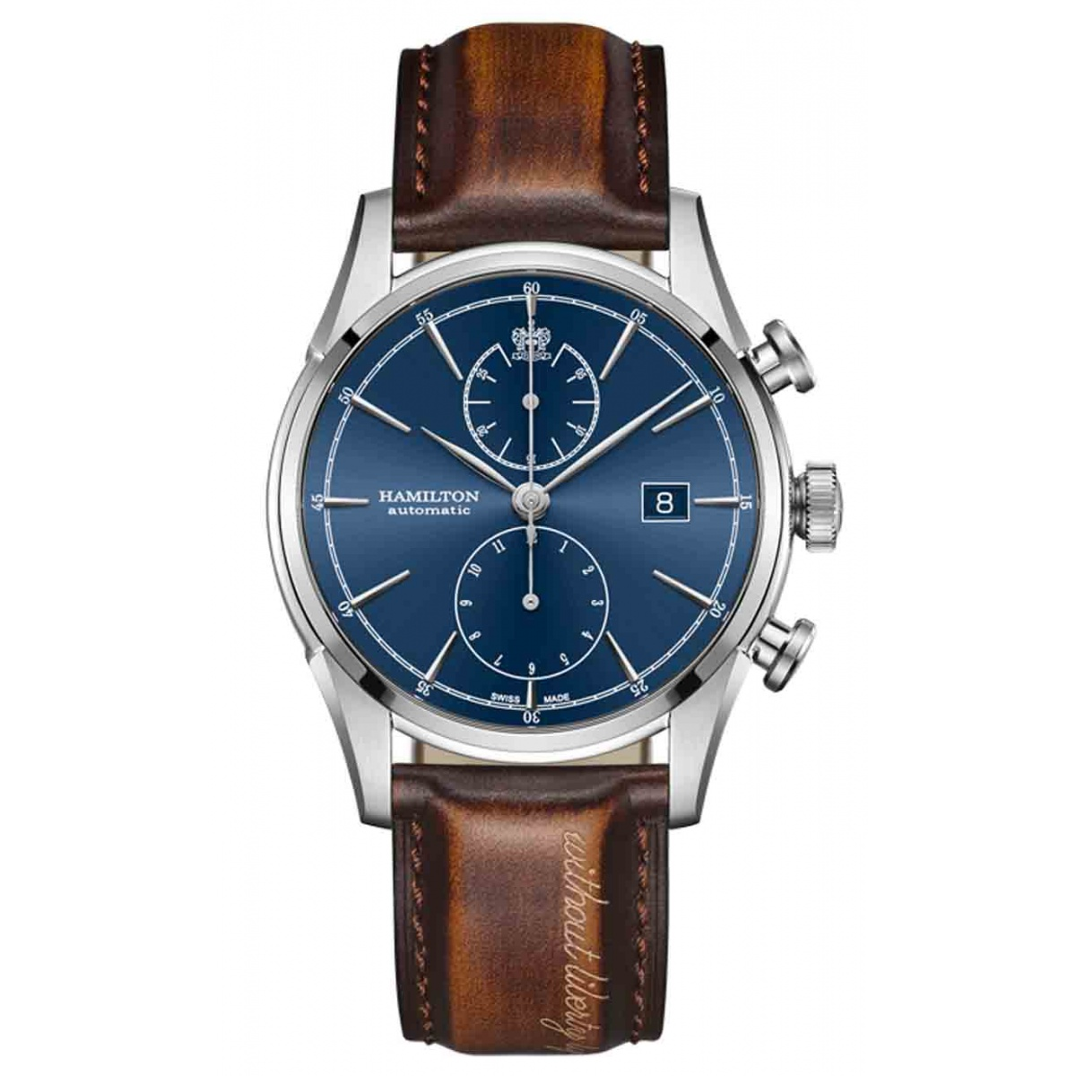 HAMILTON SPIRIT OF LIBERTY AUTO CHRONO 50 M - 42 mm, Esfera azul, piel marrón