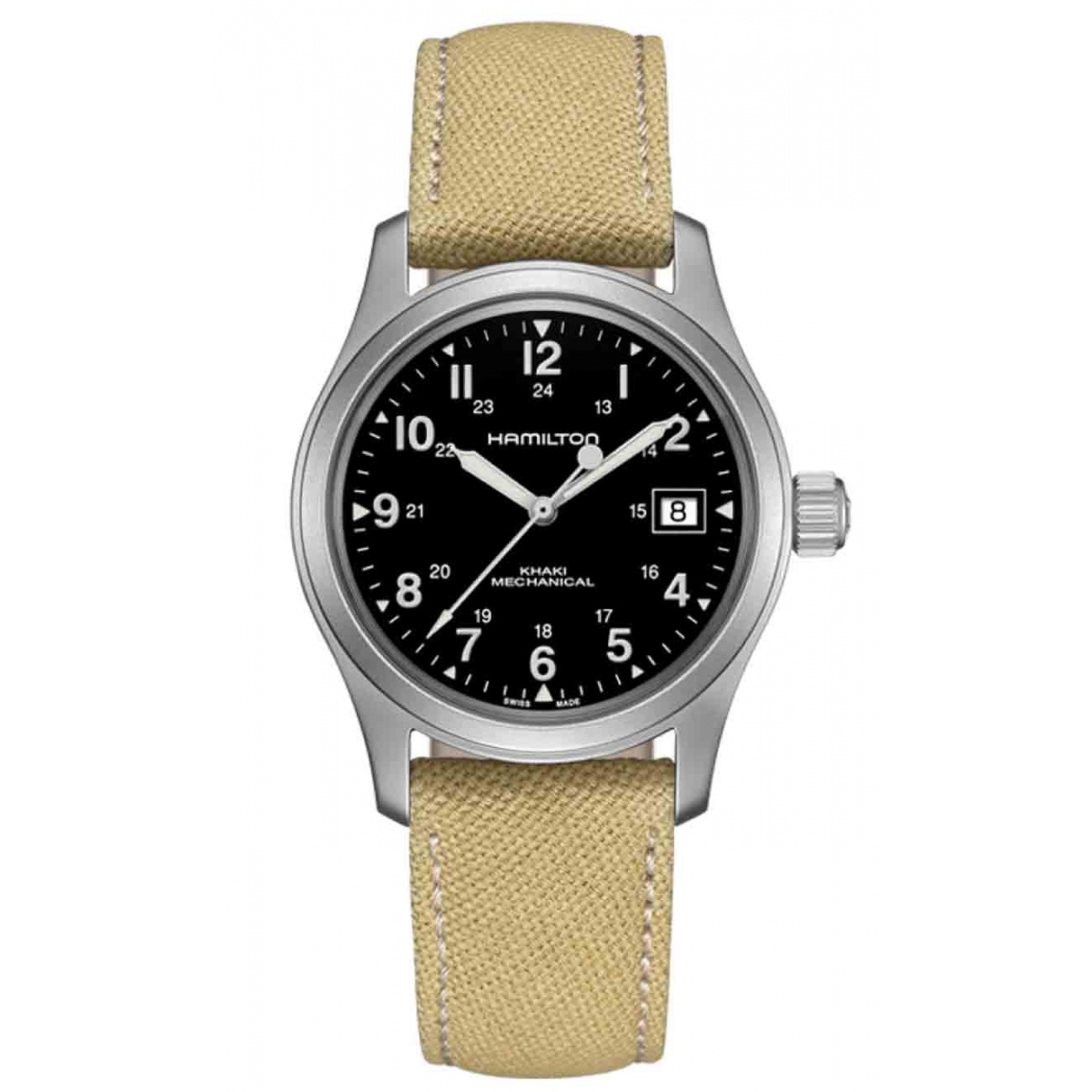 Hamilton KHAKI FIELD MECHANICAL - 50 M - ∅38 mm, Esfera negra, correa beige - - CALIBRE H-50