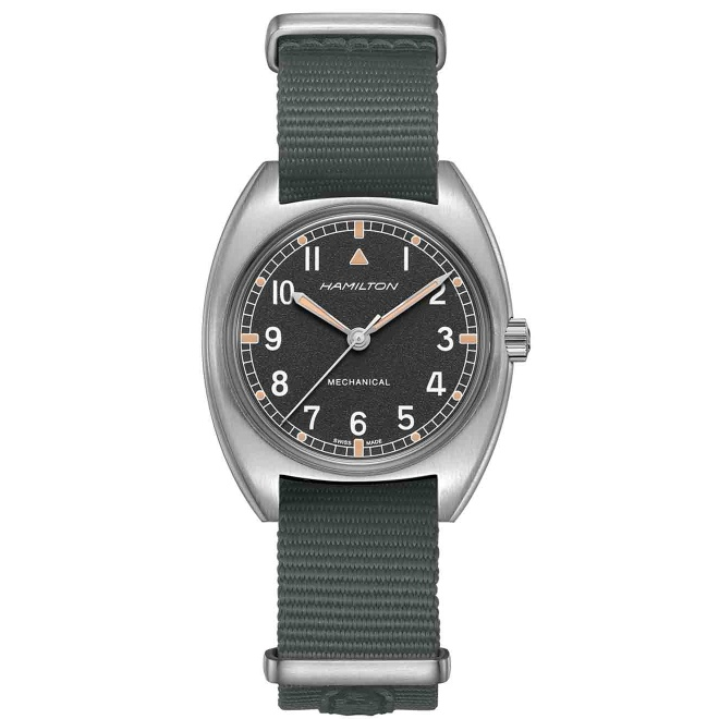 Hamilton KHAKI AVIATION PILOT PIONEER MECHANICAL - 100 M - ∅36mm x 33mm, Esfera gris, correa nato gris - Calibre H-50