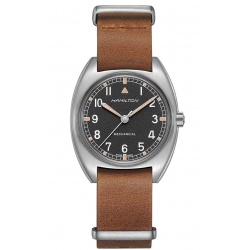 Hamilton KHAKI AVIATION PILOT PIONEER MECHANICAL - 100 M - ∅36mm x 33mm, Esfera negra, correa piel marrón - Calibre H-50