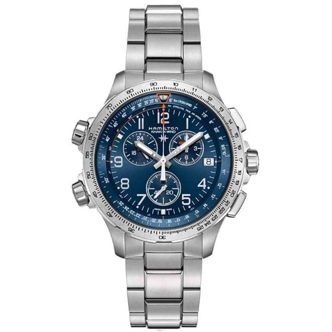 Hamilton KHAKI X-WIND GMT CHRONO QUARTZ - 100 M - ∅46 mm, Esfera azul, brazalete acero