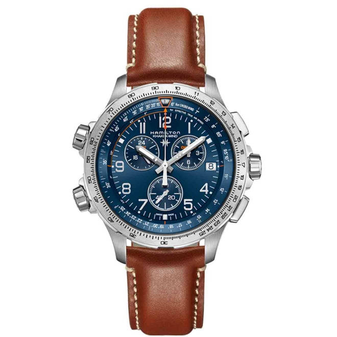 Hamilton KHAKI X-WIND GMT CHRONO QUARTZ - 100 M - ∅46 mm, Esfera azul, piel marrón